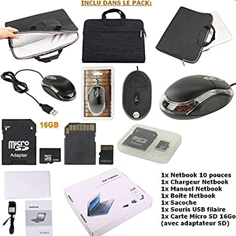 Mega Pack- Netbook Blanc 10 pouces 4Go Android +Sacoche +Souris + ...