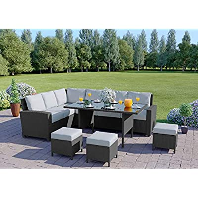 Abreo 9 Seater Corner Rattan Garden Dining Sofa Set