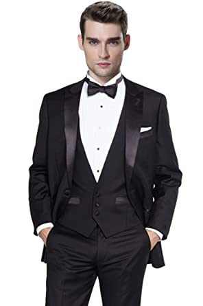 0fb3f71b Hanayome Men's 3 Pieces Black Tuxedo Blazer Suits Separate Vest & Pants  U167 at Amazon Men's Clothing store:
