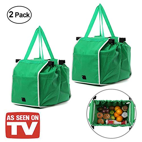 Reusable Grocery Tote Bags Collapsible Green Shopping Bags Non Woven Grab and Go Bag With Handles (2Pack(Green))