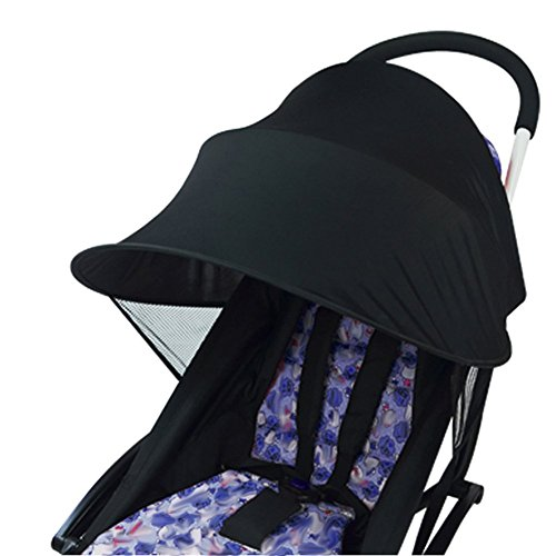 Baby Stroller Anti-UV Cloth Sun Shade Windproof Umbrella for Baby Stroller Universal Stroller Accessories (Black) by nobrand