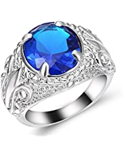 Men's silver Ring with Blue Sapphire Size US 9