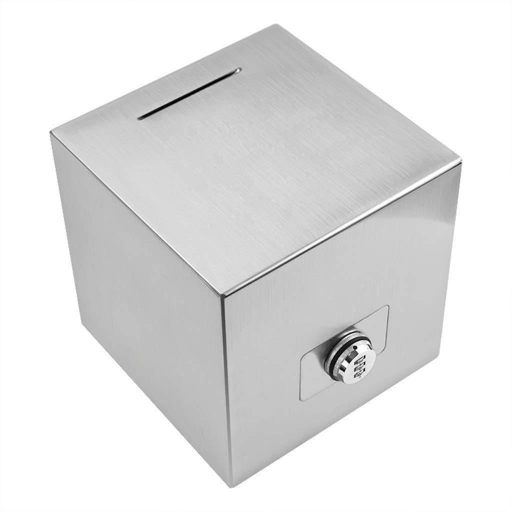 Piggy Banks Stainless Steel Piggy Bank with Lock Adult Paper Money Coin Piggy Bank Coin Piggy Bank Decoration Gift Piggy Banks (Size : Large) by AILI-Piggy Banks