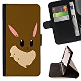 DEVIL CASE - FOR Samsung Galaxy S4 Mini i9190 - Bunny Anime Rabbit Big Ears White Pink Art - Style PU Leather Case Wallet Flip Stand Flap Closure Cover