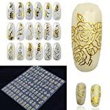 1 Sheets 3D Gold Metallic Flowers Nail Art Sticker Water Transfer Nails Wrap Paint Tattoos Stamping Plates Templates Tools Tips Kits Pretty Popular Xmas Holiday Stick Tool Vinyls Decals Kit, Type-02