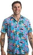 Ann Arbor T-shirt Co. Naughty Flamingo | Funny Drinking Sex Party Hawaiian Button Down Polo Shirt Men