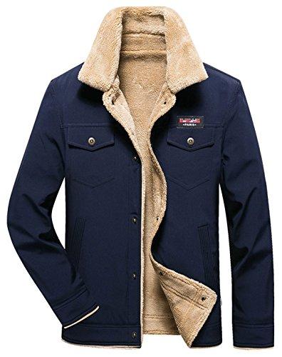 HOWON Men's Casual Sherpa Fleece Lined Jacket Warm Coat With Fur Collar Dark Blue (Fleece Lined Coat)