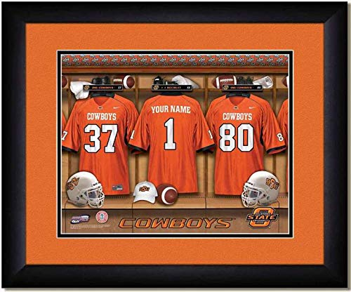 Oklahoma State Cowboys University Football Team Locker Room Personalized Jersey Officially Licensed NCAA Sports Photo 11 x 14 Print