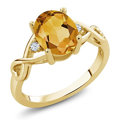 Gem Stone King Yellow Citrine and White Topaz 18K Yellow Gold Plated Silver Women's Ring (1.55 Ctw Oval Cut, Available 5,6,7,8,9) (Size 8)