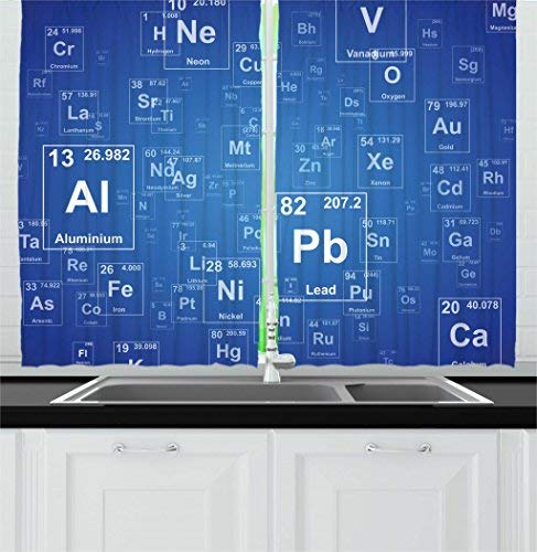 Red Vow Science Kitchen Curtains, Chemistry Tv Show Inspired Image with Periodic Element Table Image Print Art, 2 Panels Curtain for Bedroom Living Room, 80