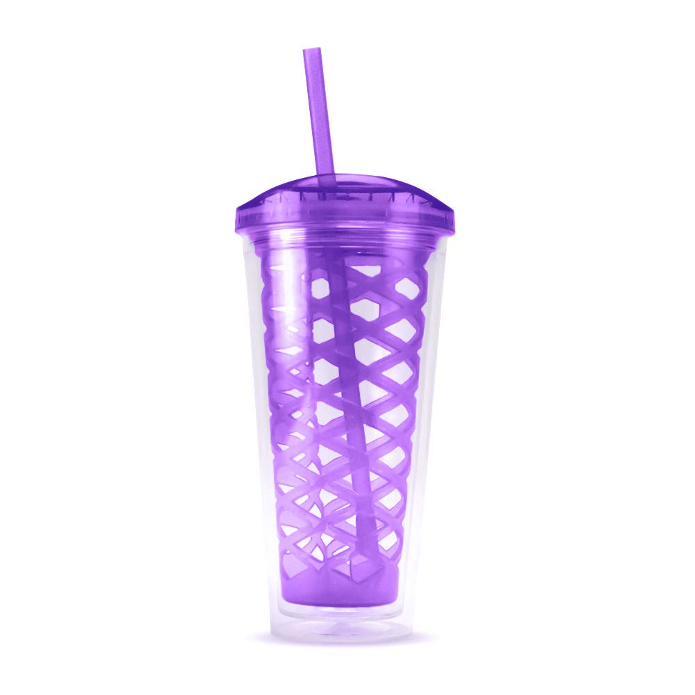 20 Fl Oz. Fruit Basket Infuser Tumbler with Fork Straw Double Wall Acrylic BPA Free