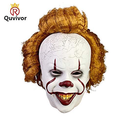 Halloween Exposed Teeth (Clown Mask Scary Halloween It Clown Mask Creepy Horror Joker Costume Adult Clown Mask with Hair and Exposed Teeth Scary Overhead Clown Mask Halloween Costume Party Creepy Scary Decoration Props)