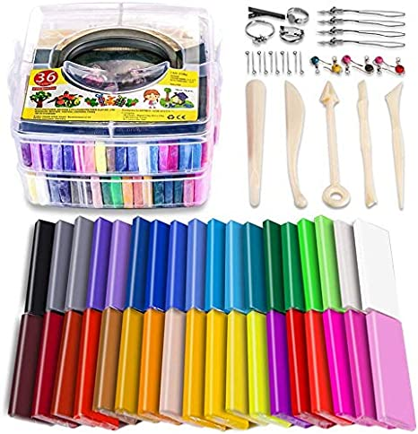 Polymer Clay Kit 48 Colors Oven Bake Clay 36 Normal Colors 12 Colors Special Colors,3 Modeling Tools and 40 Accessories Safe and Nontoxic DIY Baking Clay Blocks
