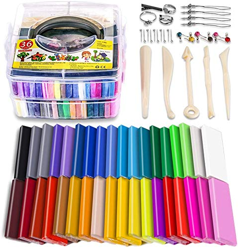 Polymer Clay Starter Kit, 36 Colors Oven Bake Clay, Baking Modeling Clay, DIY Soft Craft Clay, 5 Sculpting Tools, Accessories, and Storage Box. 36 Blocks (1 oz/Piece) (Sculpture In Clay)