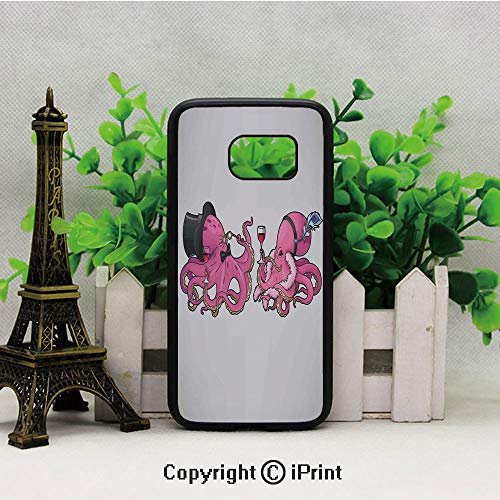 Cartoon Art Illustration of Octopuses in Fun Retro Costumes at Party Vintage Style Decor Customized Mobile Samsung S7 case Hard Back Shock Drop Proof Impact Resist Protective Case for Samsung S7 Pink]()