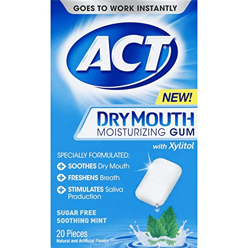 ACT Dry Mouth Moisturizing Gum, Soothing Mint, Sugar Free, 20 Count (Pack of 3) ()