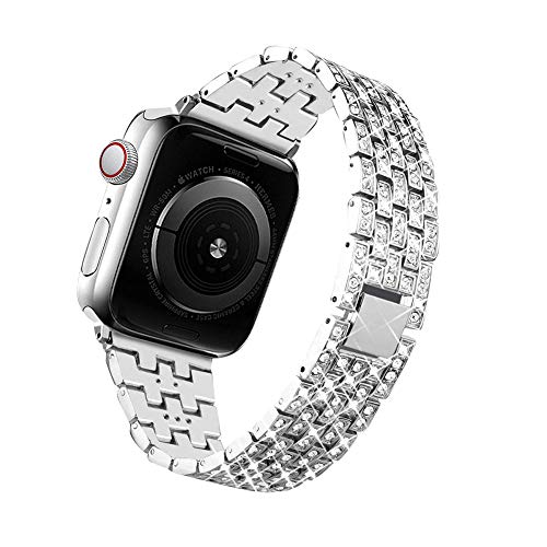 LAKOSMO Bling Bands Compatible for Apple Watch Band 38mm 40mm 42mm 44mm Replacement Metal Wristband with Diamond Rhinestone Stainless Steel Bracelet for iWatch Series 4/3/2/1 (Silver, 38 mm)
