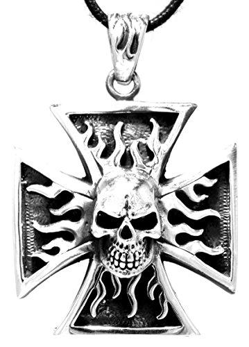 Croix Pendentif en argent sterling 925avec roi ronde Chaîne en Argent Sterling 925, épaisseur 2,5mm, longueur 45-65cm