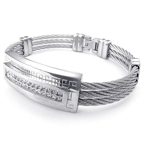 KONOV Zirconia Stainless Bracelet Bangle