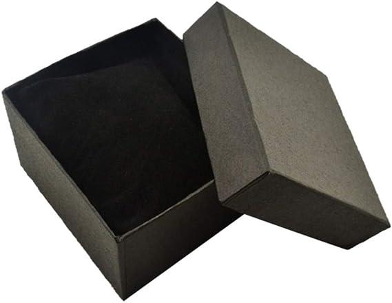 Collecsound - Caja cuadrada de cartón para guardar el reloj o la pulsera, para usar como joyero o caja para regalos, con almohadilla, negro, talla única: Amazon.es: Hogar