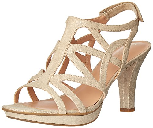 Naturalizer Women's Danya Platform Dress Sandal, Taupe/Gold, 9 W US
