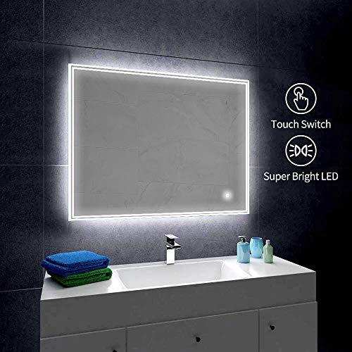 Gatesea 1000x700mm LED Lighted Bathroom Mirror Wall Mounted Anti-fog + Touch Switch -