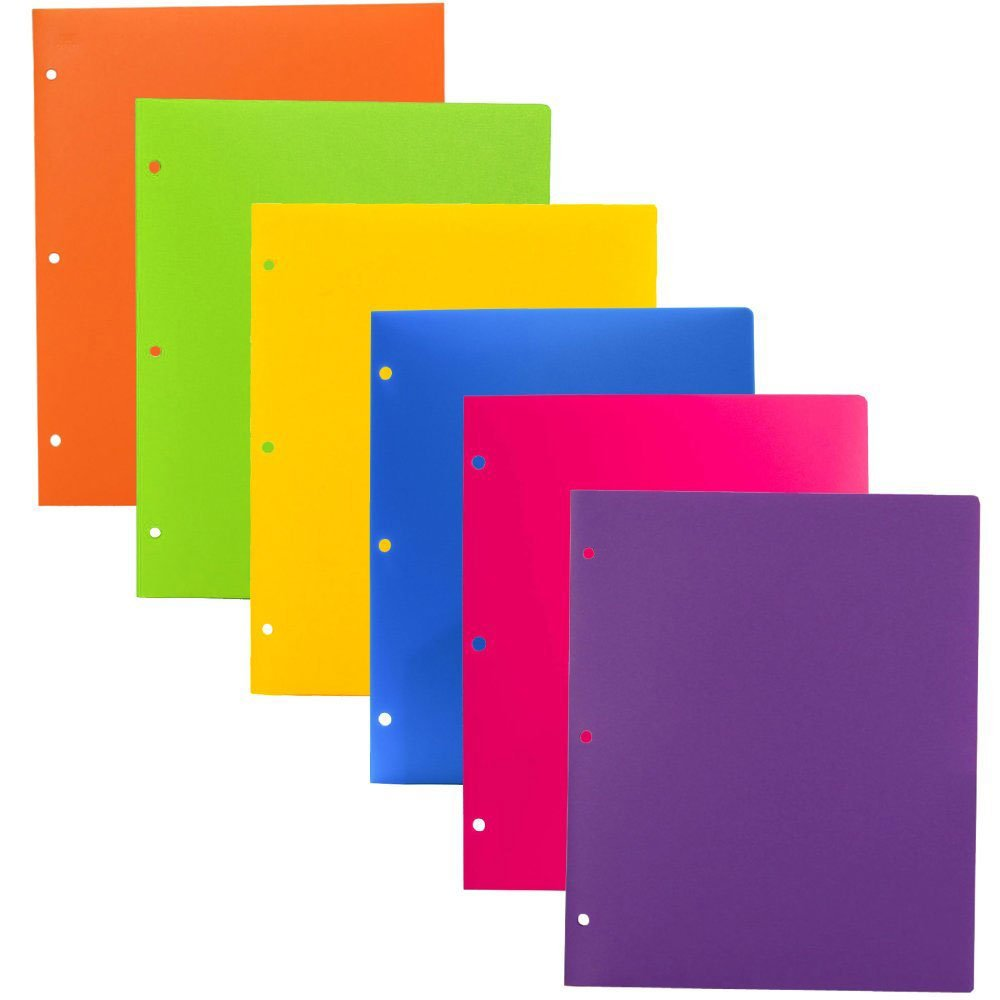 JAM PAPER Heavy Duty Plastic 3 Hole Punch Folders with Pockets - Assorted Fashion Colors - 6/pack
