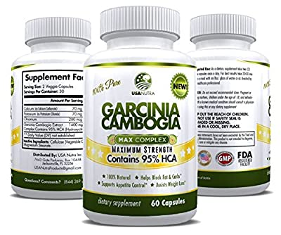 #1 Pure Garcinia Cambogia with 95% HCA 1400mg in a Single Daily Dose. FASTEST RESULTS for Weight Loss, Appetite Suppressant, Fat & Carb Blocker. Guaranteed! Made in the USA