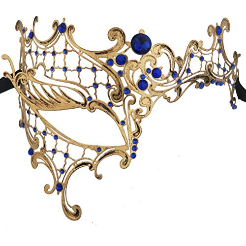 Xvevina Luxury Mask Venetian Phantom Masquerade Mask Women Blue Rhinestone