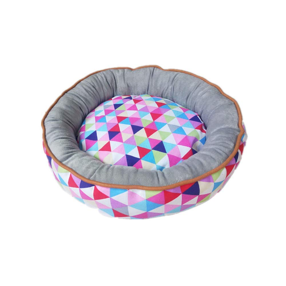 Triangle Pattern L Triangle Pattern L Round Dog Bed Cat Basket Detachable Washable Pet Cushion Kennel Mat for Small Medium Large Dogs Waterproof