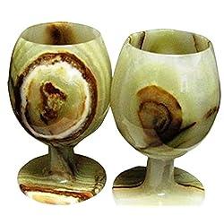 RADICALn Marble Wine Glasses 5 x 3 inches - Set of 2 Glasses - (Green Onyx)
