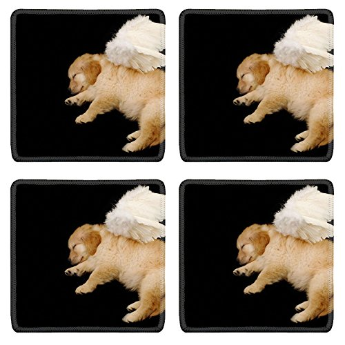 MSD Natural Rubber Square Coasters IMAGE ID: 3239335 innocent puppy wearing angel wing ()
