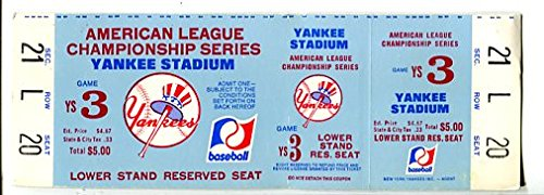 Reserved Ticket - NEW YORK YANKEES-ACLS GAME -LOWER STAND RESERVED SEAT-TICKET -UNUSED-1970