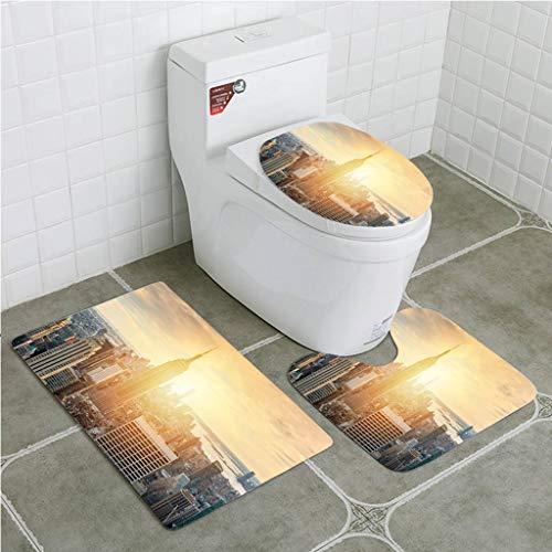 BEISISS Bathroom Mat Sets 4 Piece-Non-Slip - Short Plush Sunset on Manhattan Bathroom Rug + Contour pad + lid Toilet seat+Toilet seat Cushion
