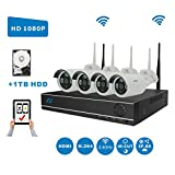 Full HD 1080P Kit Northshire 4CH 1080P Wireless CCTV Video Security System,4 x 2.0Megapixel Weatherproof Night Vision Security Wifi Cameras Clearly Night Vision,Motion Detection Alarm,1 TB HDD For Sale