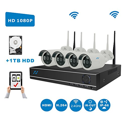 Full HD 1080P Kit Northshire 4CH 1080P Wireless CCTV Video Security System,4 x 2.0Megapixel Weatherproof Night Vision Security Wifi Cameras Clearly Night Vision,Motion Detection Alarm,1 TB HDD