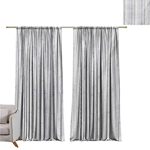 (RenteriaDecor Grey and White,Room Divider Curtain Birch Tree Grove Leafless Branches Winter Woodland Illustration W84 x L96 2 Panels Set Bedroom Kitchen)