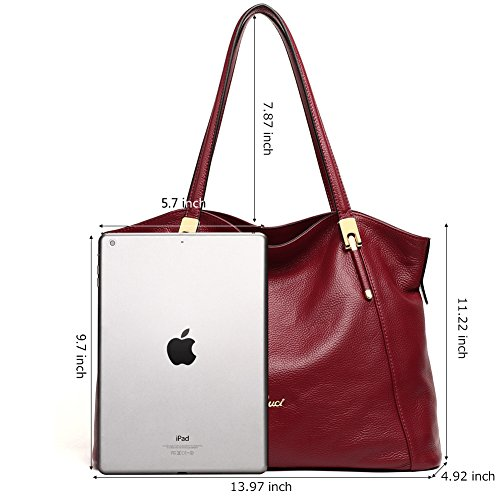 Shoulder Purse handle Cluci Handbags Wine Genuine Tote Red Designer Leather Bag for Top Women WxWqRn8wY