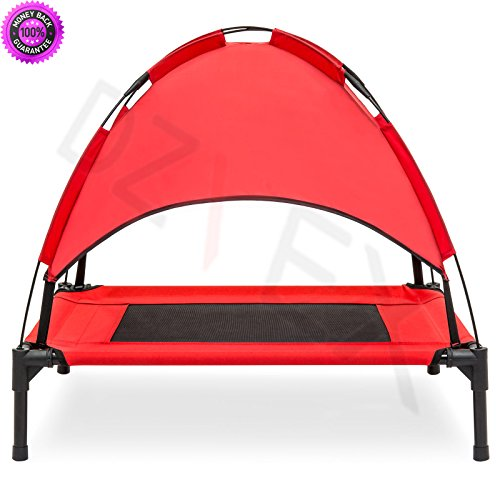 DzVeX__30'' Raised Mesh Cot Cooling Dog Bed w/ Canopy Tent, Travel Bag (Red) And adjustable beds tempurpedic adjustable beds twin beds queen bed frames sears beds mattresses king bed jcpenney beds bed by DzVeX