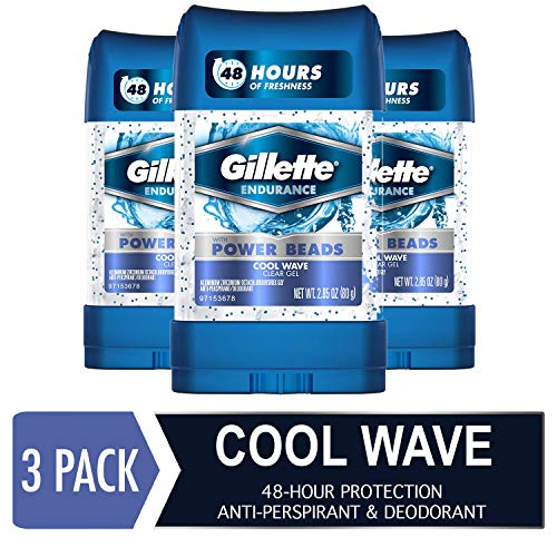 Cool Clear Wave Gel - Gillette Clear Gel Power Beads Cool Wave Antiperspirant and Deodorant, 2.85 oz (pack of 3)
