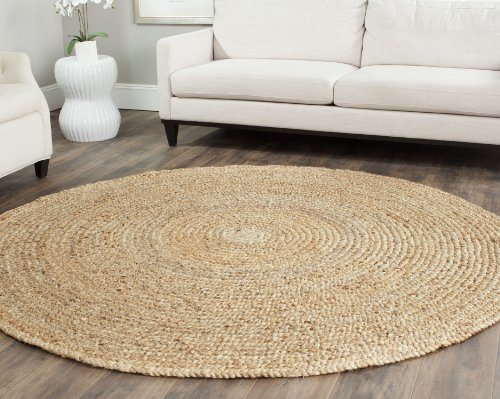 Safavieh Natural Fiber Collection NF733A Hand Woven Natural Jute Round Area Rug (4' Diameter) (Natural Rugs Seagrass)