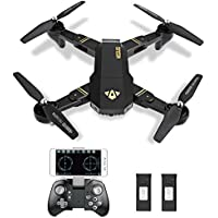 Foldable RC Drone Quadcopter 2.4GHz 6-Axis Gyro Remote Control Drone with 720P HD 2MP Camera Quadcopter (with 2pcs 3.7V 900mAh Battery)