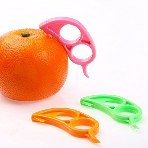 CJESLNA 4 x Orange Opener Peeler Slicer Cutter Plastic Lemon Citrus Fruit Skin Remover