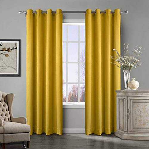 - COFTY Super Soft Matt Luxury Heavyweight Velvet Curtain Drape with Blackout Thermal Lining Yellow 50Wx102L Inch(1 panel) - Nickle Grommet