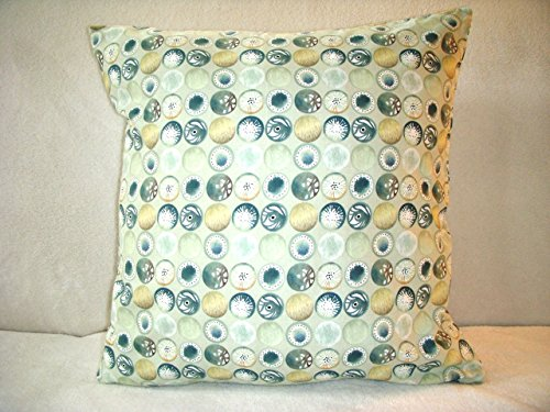 Blue Pillow Cover Green Cream Yellow Beach Pebbles Circles Discs Country Farmhouse Shabby Chic Country Zipper - Pebbles Circle