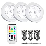 LED Remote Control RGB Tap Light Color Changing Wireless LED Puck Light,Battery Powered Touch Light Under-Cabinet Light,Decoration Lighting for Party Wedding Holiday,3 Pack