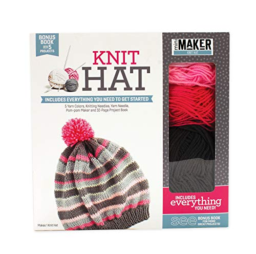 Knit Hat Book Plus Kit - Includes 5 Yarn Colors, Knitting Needles, Yarn Needle, Pom-Pom Maker and 32-Page Project Book
