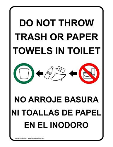 Etiquette Sign - metal Signs Aluminum Restroom Etiquette Sign, 10 x 7 in. with English + Spanish Text, White