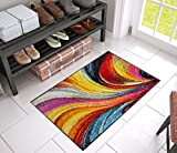"Aurora Multi Red Yellow Orange Swirl Lines Modern Geometric Abstract Brush Stroke Area Rug 2x4 ( 1'8"" x 2'7"" ) Easy Clean Stain Kitchen Entryway Doormat Contemporary Painting Art Stripe Thick Plush"