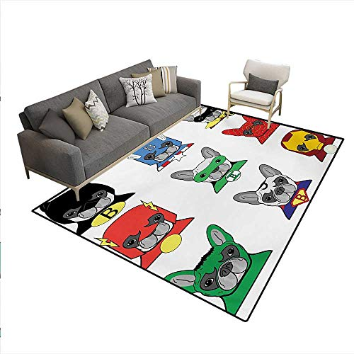Carpet,Bulldog Superheroes Fun Cartoon Puppies in Disguise Costume Dogs Masks Print,Rug Kid Carpet,Multicolor,6'x9']()